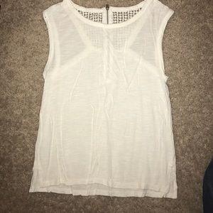 white zipper-back tank